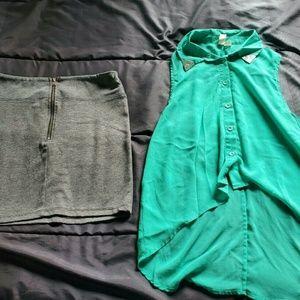 Women small gray skirt Xhiliration with sage green